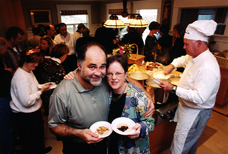 Noel MacDonald and Marg Meikle at one of their Porridge for Parkinson's events. Photo by Dina Goldstein, courtesy of Canadian Living.